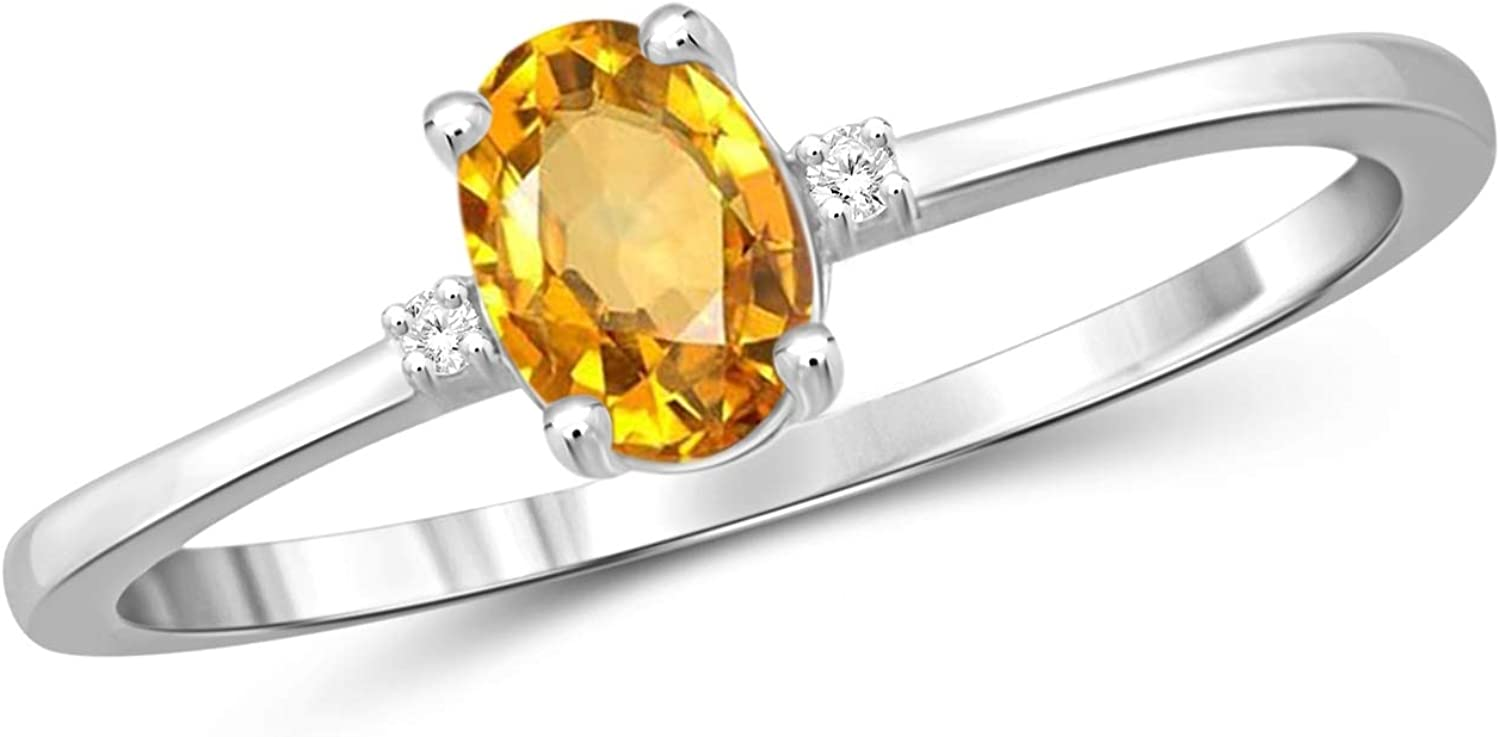 Amazon Com Jewelexcess 0 40 Carat T G W Citrine And Accent White Diamond Sterling Silver Ring Jewelry