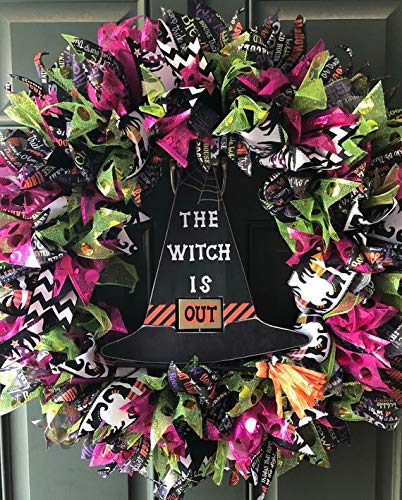 Witch Hat The Witch is In Out Halloween Wreath 22