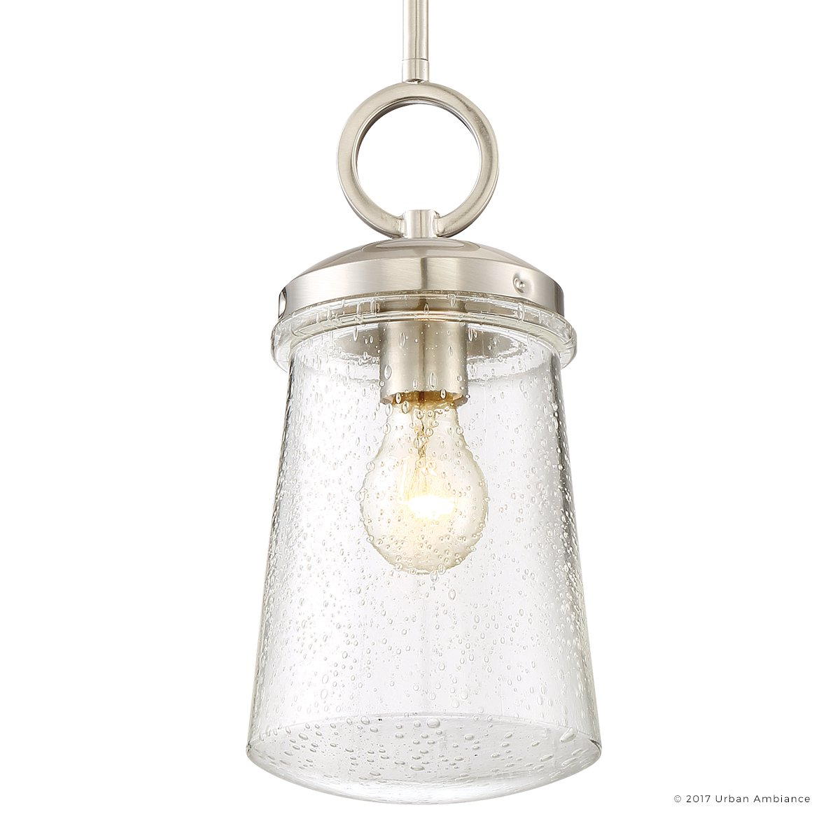Luxury Contemporary Hanging Pendant Light, Small Size: 13''H x 6''W, with Art Deco Style Elements, Pretty Brushed Nickel Finish and Seeded Glass, UQL2641 by Urban Ambiance