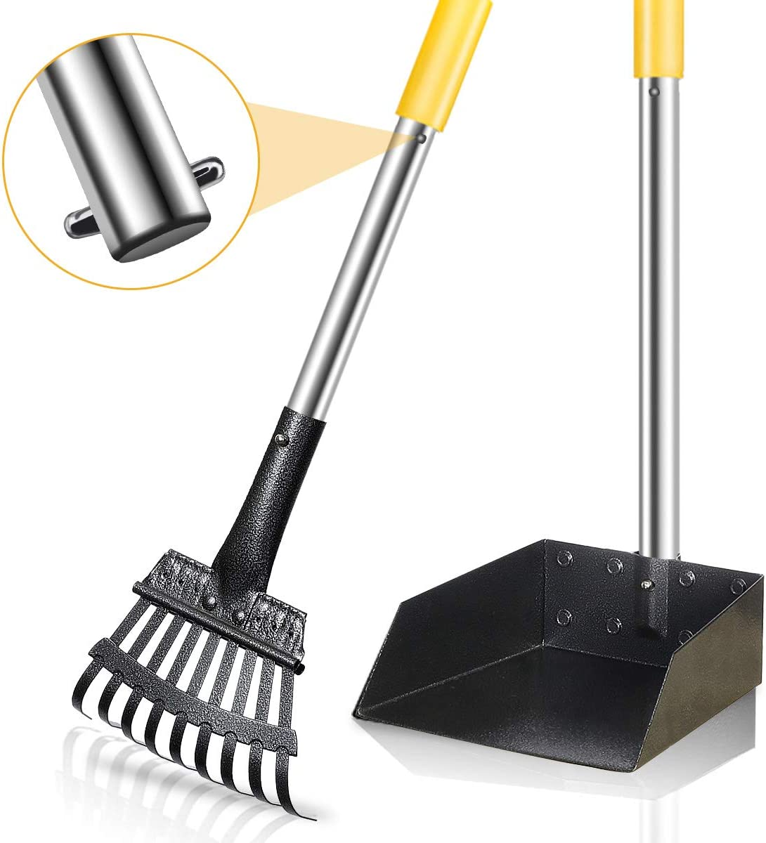FOCUSPET Dog Pooper Scooper, Poop Scooper for Dogs Upgraded Adjustable Long Handle Metal Pet Poop Tray and Rake Set for Large & Small Dogs, Pet Waste Removal Scoop for Pets, Dirt, Gravel, Lawns, Grass