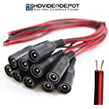 HDVD 10 Pack DC Power Female Pigtail Connectors 2.1 x 5.5mm Copper 10 inch Length