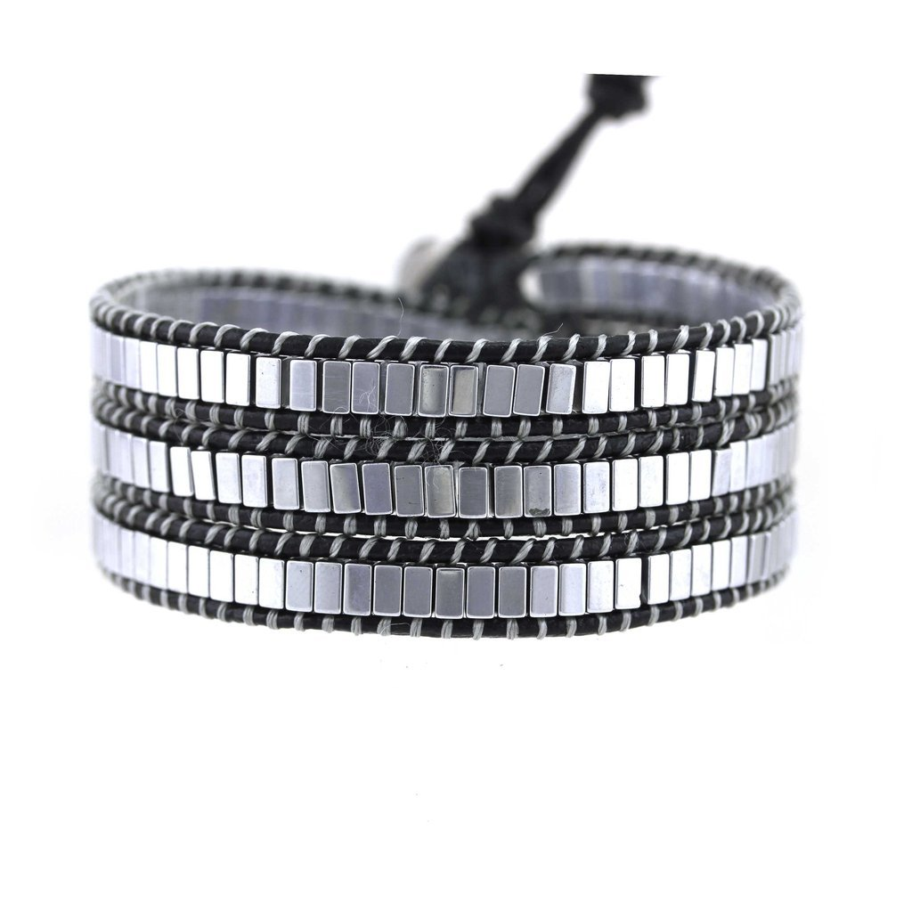 Silver Square Beaded Genuine Black Leather Triple Wrap Punk Style for Men Women Unisex by Balla