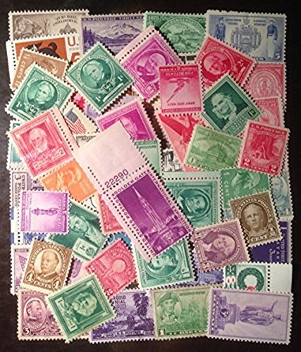 (25 Very Old Mint U.S. Stamp Collection from 1930s and 1940s)