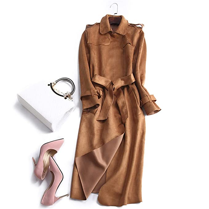 Amazon.com: Autumn Suede Trench Coat Women Long Elegant Outwear Female Overcoat Slim Red Suede Cardigan Trench: Clothing