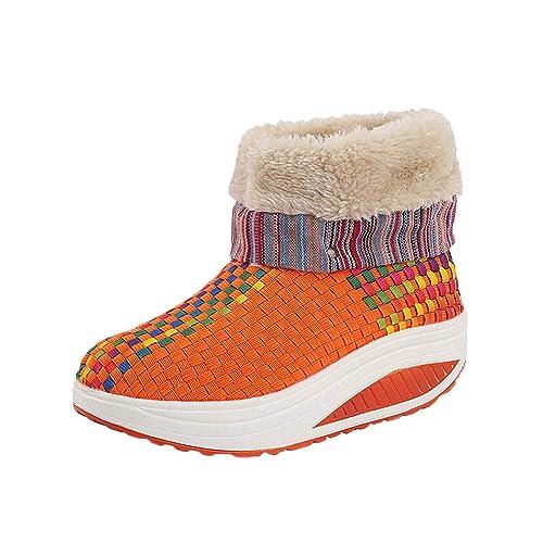 Botas Zapatos Zapatillas Plataforma Casuales para Mujer,Mujeres Ocio Mantener Caliente Tejer Pies Redondos Zapatos Planos Antideslizante Botas De Nieve: ...