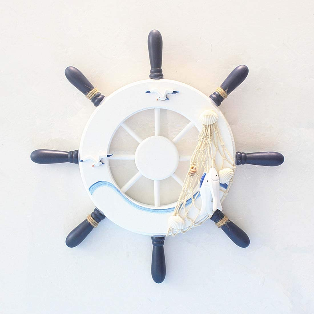"""Nautical Mediterranean Handcrafted Wooden Ship Wheel Pirate Decor- Ships Wheel for Home,and Wall Hanging Decorative Boat Accessory for Bedroom/Bathroom/Guest Room(Blue and White,12.6""""X 12.6"""")"""
