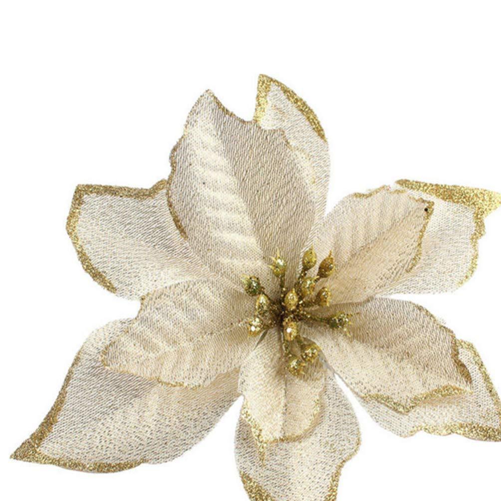 Dorato Amosfun 20pcs Glitter Fiori di Natale Stelle di Natale Decorazioni per Alberi di Natale Ornamenti Fai da Te Artigianato