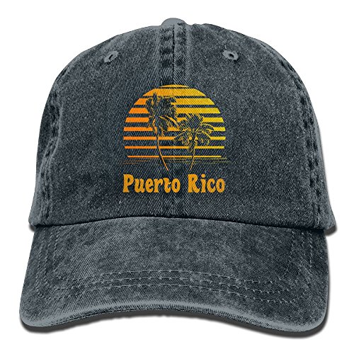 Puerto Rico Sunset Palm Trees Denim Hat Adjustable Curved Baseball Hat