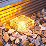 Frosted Glass Brick Paver Garden Light(1 unit ), 4 LED, IMAGE Waterproof Ice Cube Rocks Solar light for Outdoor Path Road Square Yard, Warm White