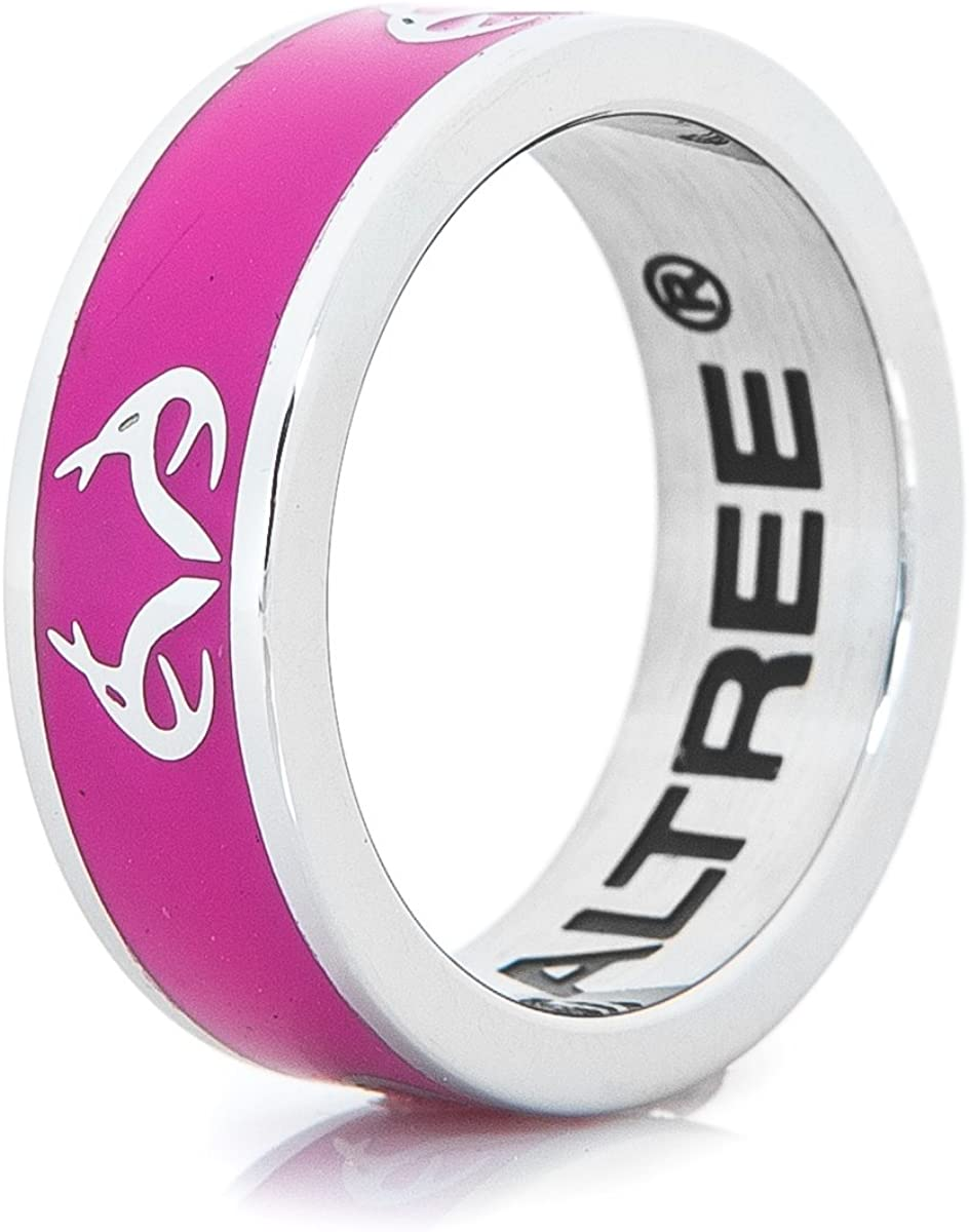 amazon com ladies realtree logo ring pink with antler design stainless steel womens 6 jewelry amazon com