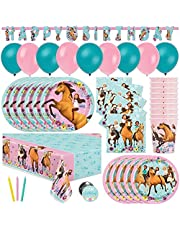 Spirit Riding Free Party Supplies and Decorations with Balloons for Spirit Birthday Party, Serves 16 Guests, Perfect for Girls and Boys, Easy Setup and Takedown with Banner, Table Cover, Plates, Napkins & More