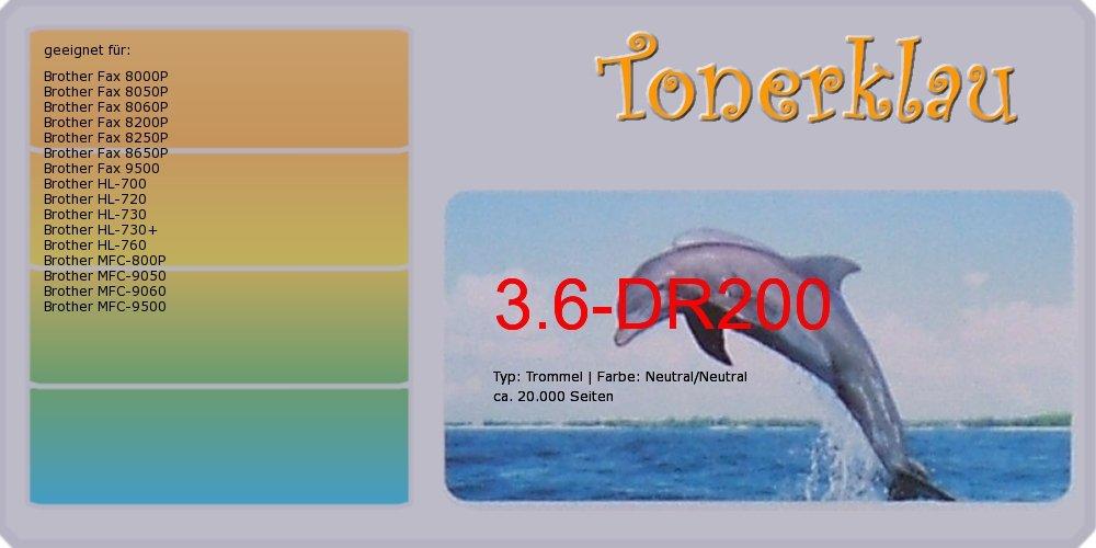 Kompatibel Trommel 3.6-DR200 für  Brother Fax 8000P als Ersatz für Brother DR-200