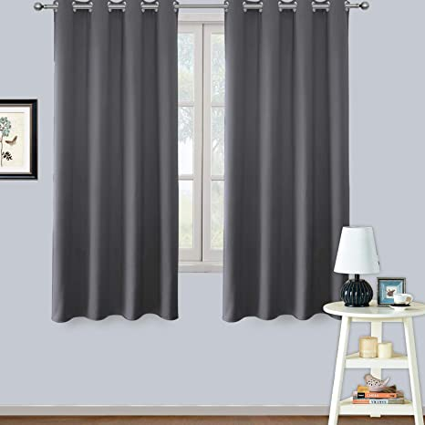 LIFONDER Bedroom Window Blackout Curtains - Thermal Insulated Grommet  Privacy Short Curtains for Small Windows/Bathroom (2 Panels, W52 x L45 ...