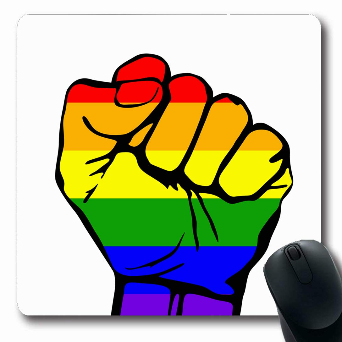 Ahawoso Mousepads for Computers Community Green Pride LGBT Support Phrase  Fight Peace Gay Orange Proud Protest Rights Bisexual Blank Oblong Shape 7.9  x 9.5 ...