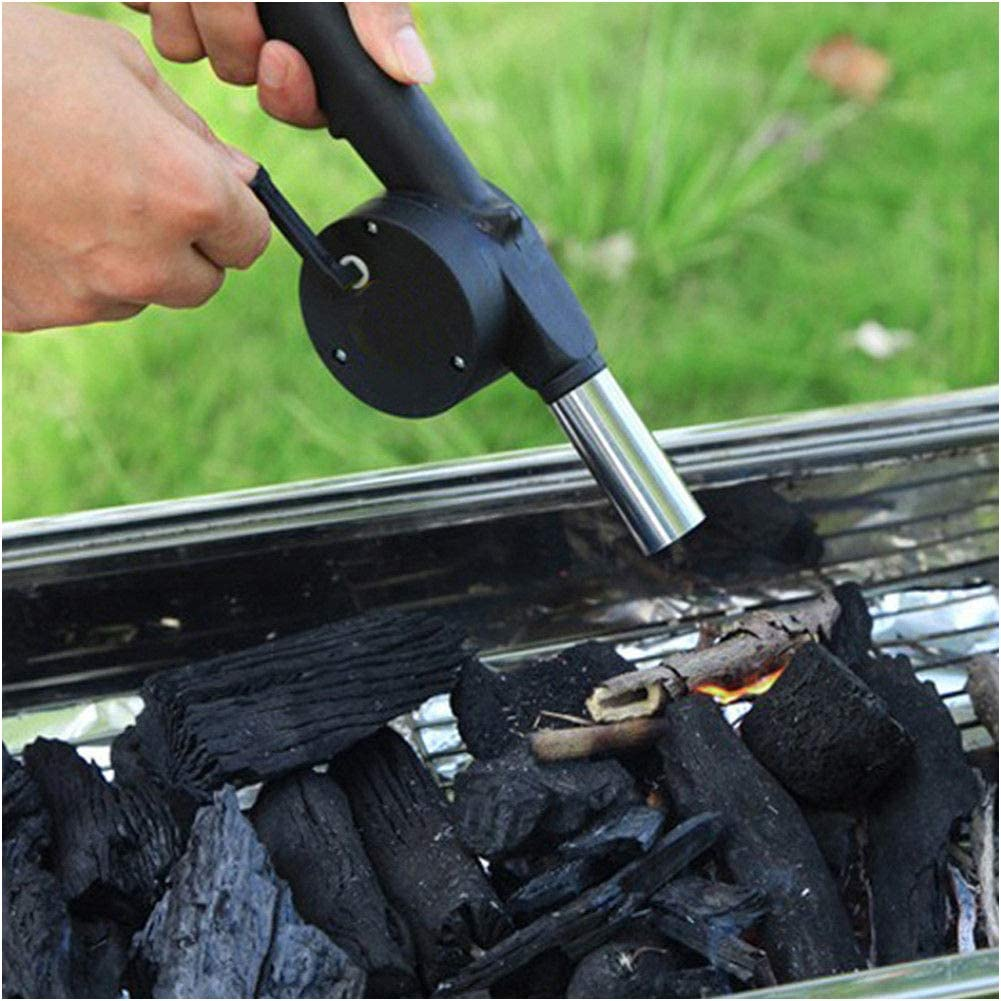 Manual Operated BBQ Fan Air Blower for Outdoor Camping Picnic Grill Barbecue New