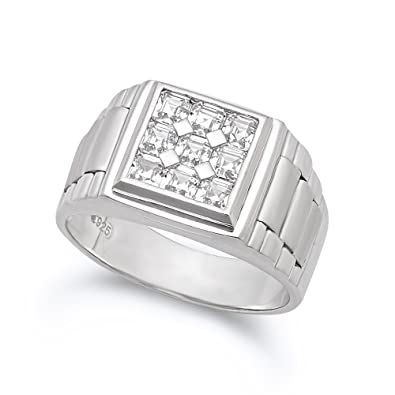 925 Sterling Silver Italian Crafted 21mm Multi-Princess Cut CZ Square Face Ring + Bonus Polishing Cloth pPCRwjvk
