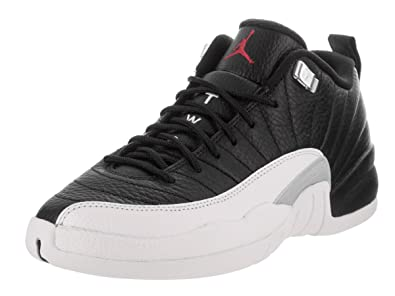 reputable site 28d6b 4118e Jordan Kid s Air 12 Retro Low BG, Black Varsity RED-White, Youth