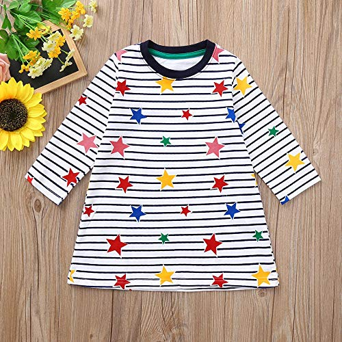 AMSKY Baby Girls Headbands,Toddler Baby Girls Long Sleeve Stripe Stars Print Dress Outfits Clothes,White,80 -