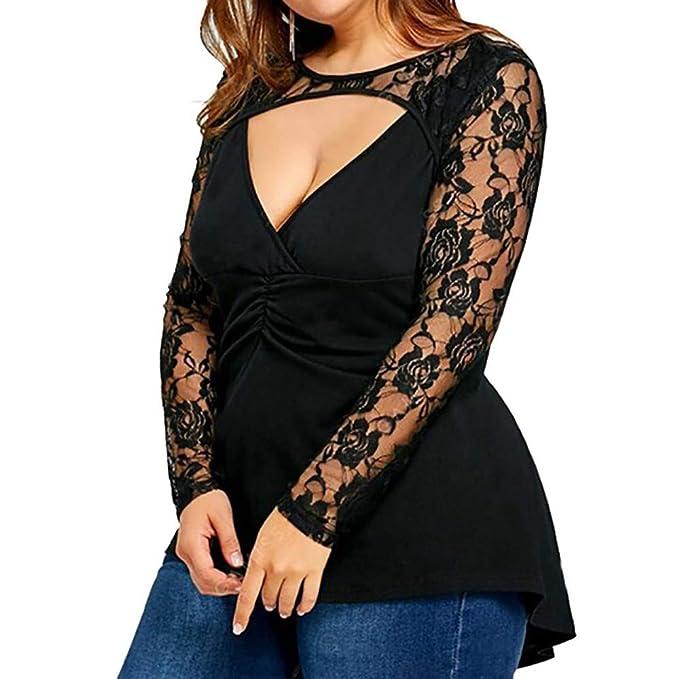 Luckycat Las Mujeres más el tamaño de Encaje sólido de Manga Larga Blusa Transparente Pullover Tops Shir: Amazon.es: Ropa y accesorios