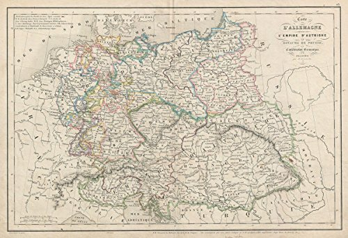 Historic Map | Delamarche Map of Germany, Prussia and The Germanic Confederation, 1850 | Historical Antique Vintage Decor Poster Wall Art | 24in x 36in