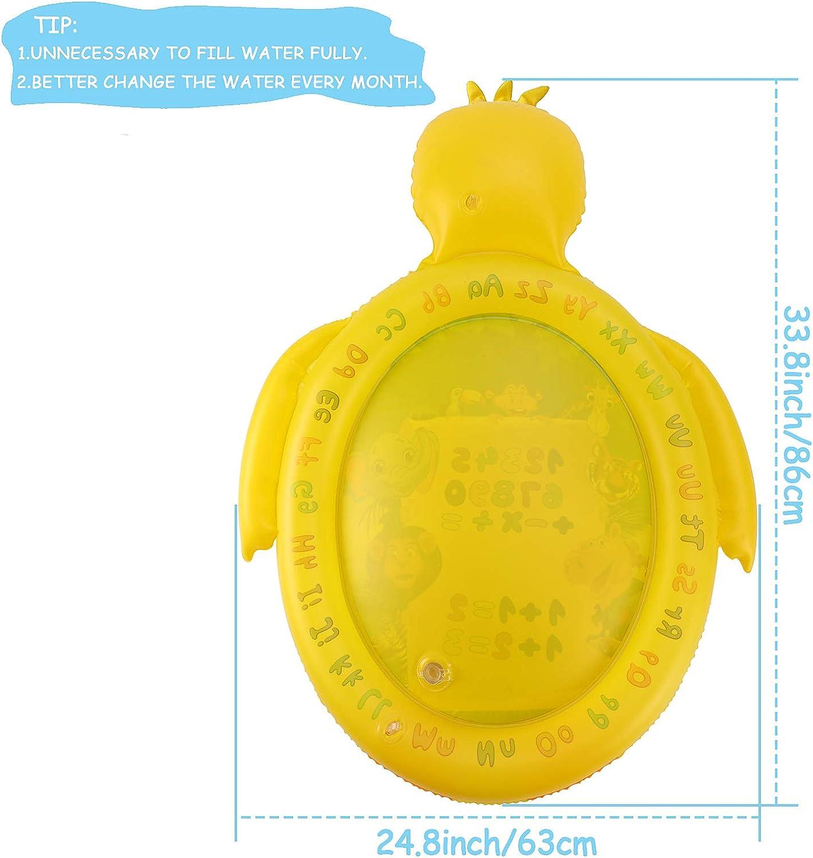 Tacobear Colchoneta de Agua para Beb/és Coj/ín de Agua Inflable Pato Amarillo Alfombra de Juego de Agua Estera de PVC Centro de Actividades Divertidas para Estimulaci/ón del Crecimiento de Beb/é
