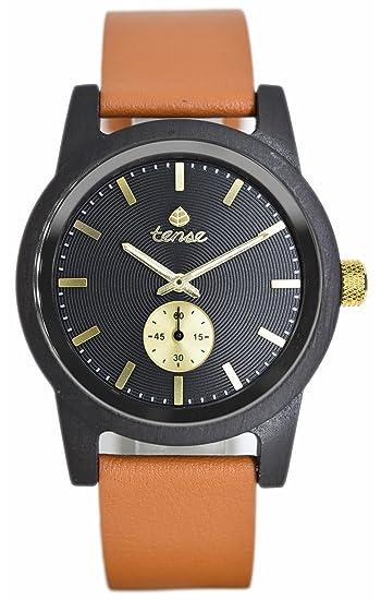 TENSE//La Madera Reloj – Mens Leather Hampton Sándalo – Negro | correa de