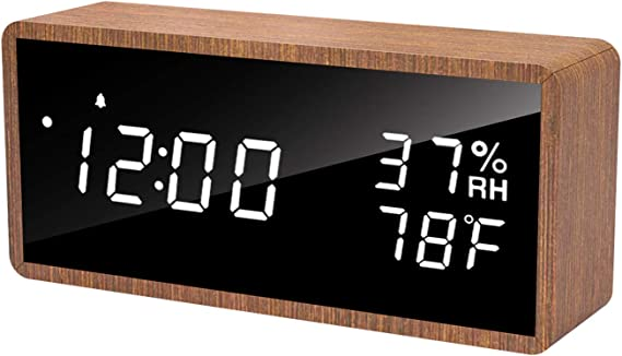 meross Digital Alarm Clock for Bedrooms, Real Wood, LED Display Desk Clock, Time Temperature Humidity, 3 Sets of Alarms, Adjustable Brightness, Sound Control Function (Sapele)