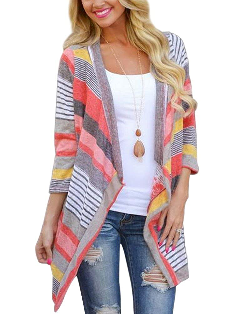 Myobe Women s 3 4 Sleeve Sweaters Cardigans Striped Printed Open Front  Draped Boho Kimonos Cardigan at Amazon Women s Clothing store  641b8d13e