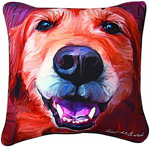 Manual Nutmeg Golden Retriever Paws and Whiskers Decorative Square Pillow
