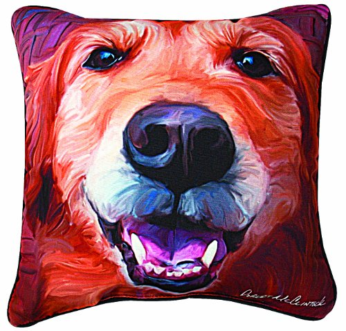 Manual Nutmeg Golden Retriever Paws and Whiskers Decorative Square Pillow, 18-Inch - Golden Retriever Paws