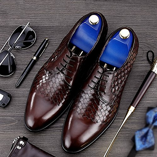 Herren Lederschuhe Frühlings-Leder-Schuhe der Männer britische Art-männliche Geschäfts-formale Abnutzungs-Breathable einzelne Schuhe Herrenschuhe ( Farbe : Schwarz , größe : EU39/UK6 ) Kaffee - Farbe