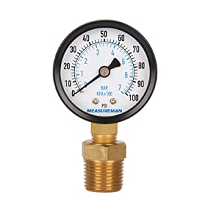 "Measureman 2"" Well Pump Pressure Gauge, 0-100psi/bar, 1/4""NPT Male with 1/2""NPT Adaptor, 3-2-3% Accuracy"