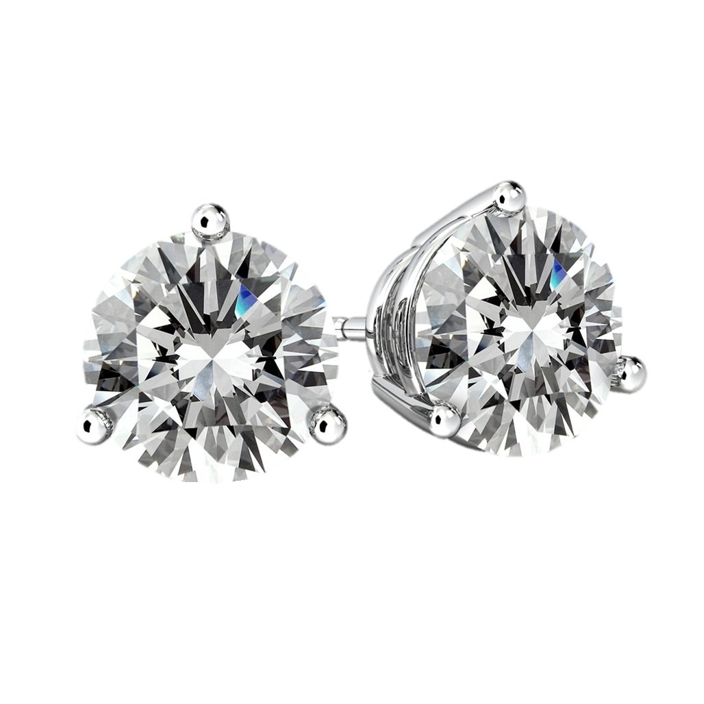 NANA Silver 3 prongs CZ Stud Earrings Surgical Stainless Steel post -5.5mm-1.25cttw - Rhodium Plated by NaNa