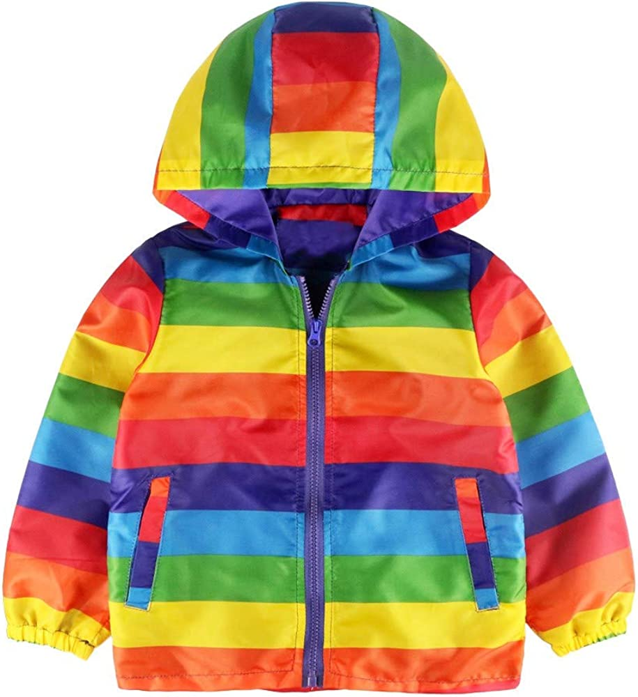 Palarn Baby Clothes Toddler Baby Girl Boy Stripe Rainbow Winter Warm Jacket Hooded Windproof Coat