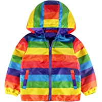HOMEBABY Toddler Infant Baby Girls Boys Rainbow Stripe Hooded Coat Jackets Thick Outfits Kids Children Winter Clothes Parka Casual Outwear Gift