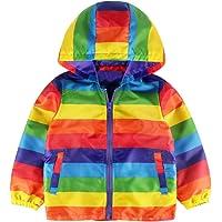 Kolylong Unisexe Manteau à Capuche Enfants bébé Filles garçons hvier Tenue vêtements Hooded Pull Cardigan Hauts à Rayures Coat Manches Longues pour Enfant en Bas âge Bambin 2 à 6 Ans
