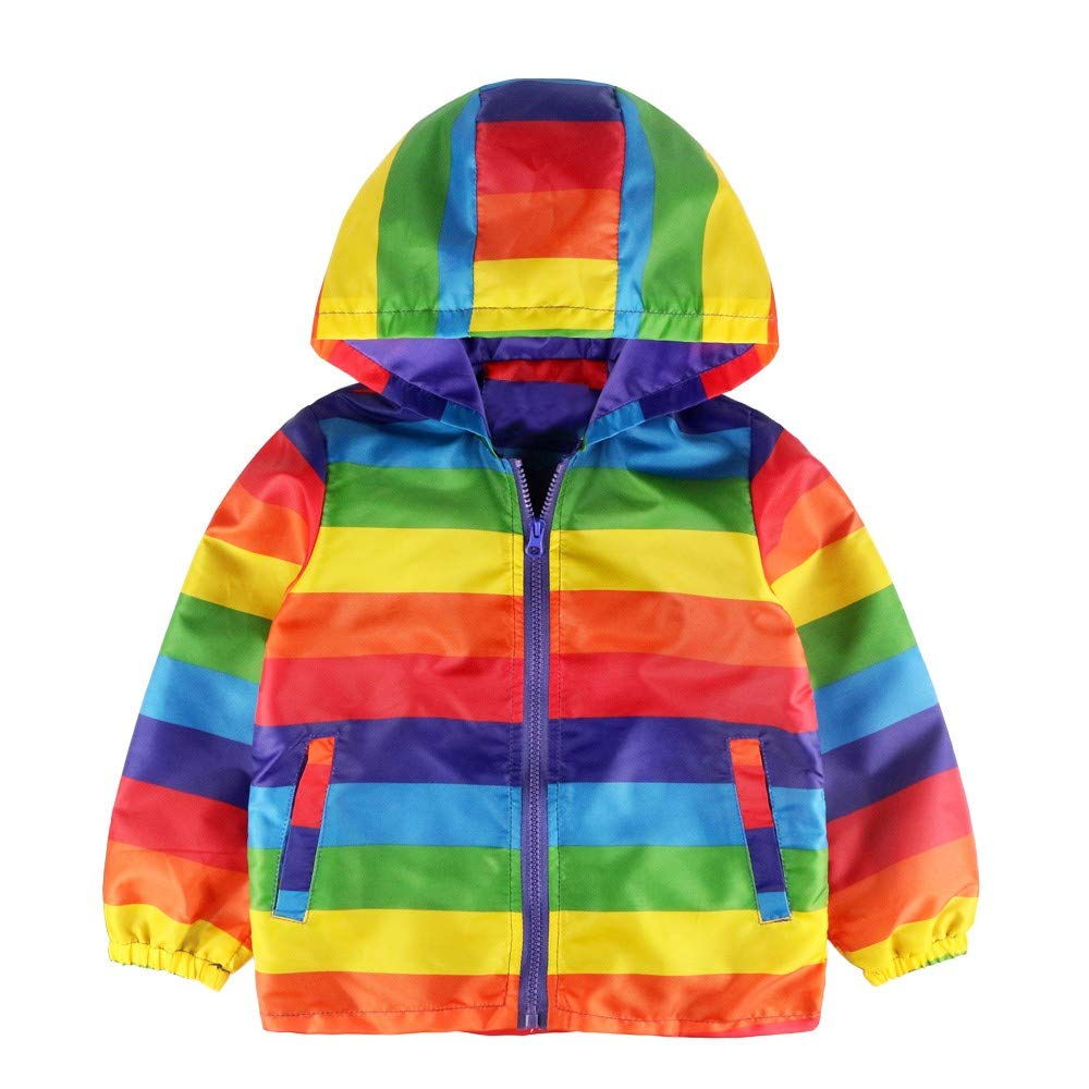 LIKESIDE Kids Baby Gril Boy Long Sleeve Rainbow Stripe Hooded Coat Tops Outfit