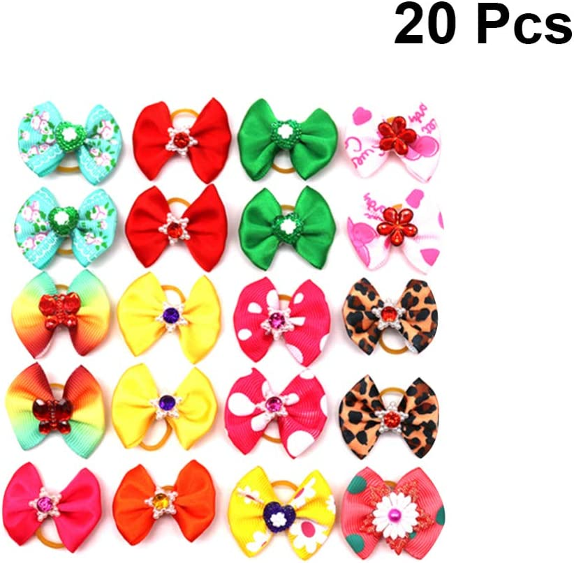 Pssopp 25Pcs Dog Hair Bows with Rubber Bands Pet Multicolor Hair Bowknot Bows Pet Grooming Hair Accessories for Cats Small and Medium Dogs