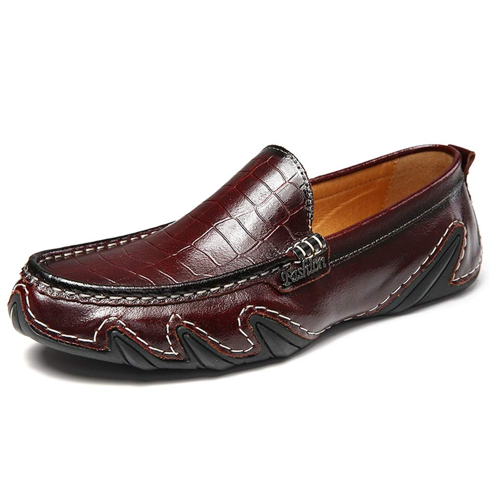 Brown XIANGBAO-Personality Single Leather shoes Man Driving Loafer Superficial OX Leather Easygoing Sole Breathable Slip On Boat Moccasins