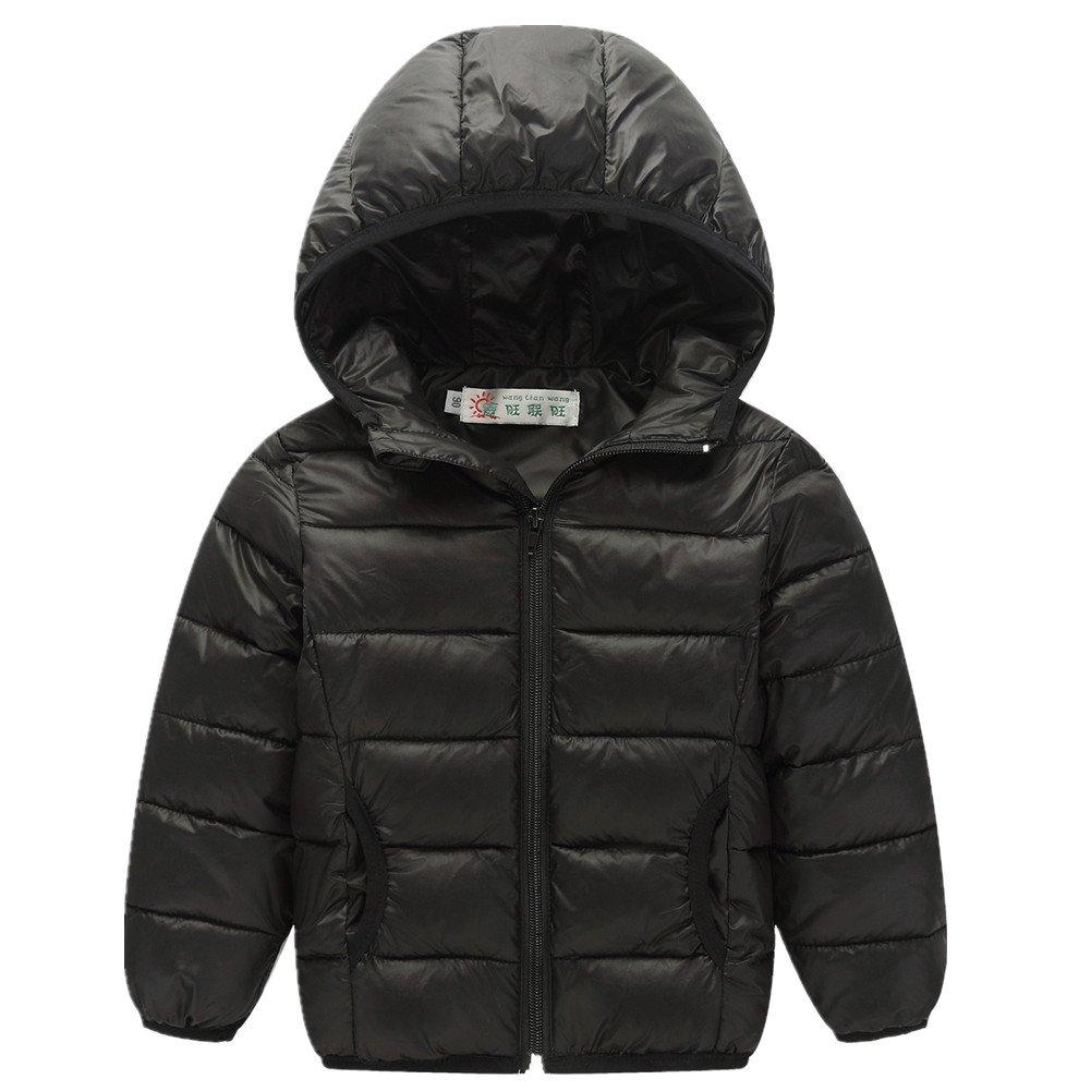 FTSUCQ Girls/Boys Windproof Warm Full Zip Down Coat Hooded Jacket,Black 140