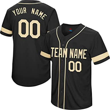 0ccd9e88606 College Black Men s Custom Baseball Jersey Button Down Embroidered Your  Name   Numbers