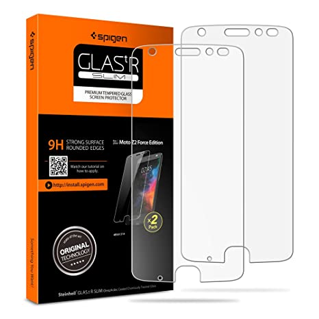 Spigen Tempered Glass Moto Z2 Force Screen Protector [ Case Friendly ] [ 9 H Hardness ] For Moto Z2 Force Edition (2017) (2 Pack) by Spigen