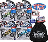 TECH DECK BMX Series 10 Complete Gift Set Bundle with Bonus Matty's Toy Stop Storage Bag - 4 Pack - WeThePeople (Gold & Black), Sunday (Blue & Black), Sunday (Silver & Black), Cult (Green & Black)