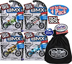 Tech Deck BMX Series 10 Complete Gift Set Bundle with Bonus Matty's Toy Stop Storage Bag - 4 Pack is AWESOME! Set Includes WeThePeople (Gold & Black), Sunday (Blue & Black), Sunday (Silver & Black), Cult (Green & Black). Tech ...