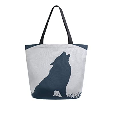 Loup Double Hurlant Paysage Avec Silhouette Portable Grand Animale Ibf6yYv7g
