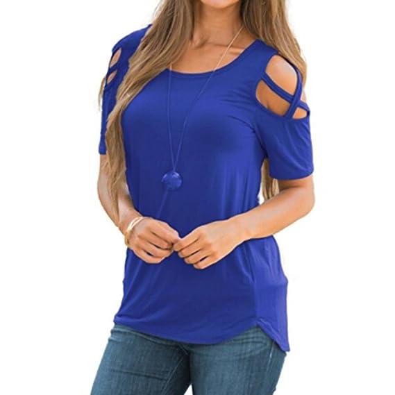 Koly Blusas y camisas Casual de Manga Corta Elegante Camisetas Mujer Manga Corta Algodón Camiseta Mujer