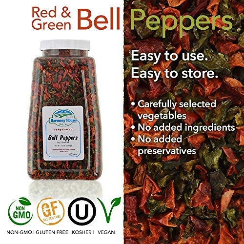 Harmony House Foods Dried Mixed Red & Green Bell Peppers, diced (12 oz, Quart Size Jar) for Cooking, Camping, Emergency Supply, and More