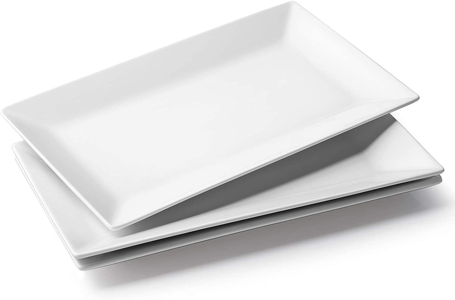 DOWAN Large Serving Platter - 14 Inches Serving Plates, White Rectangular Platter Oven Safe, Serving Platters and Trays for Parties, Ceramic Platter for Meat, Food, Appetizer, Set of 3, White