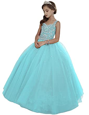 96f72ba6422c HuaMei Girls Princess Tulle Beaded Straps Ball Gowns Flower Girl Pageant  Dresses 2 US Baby Blue