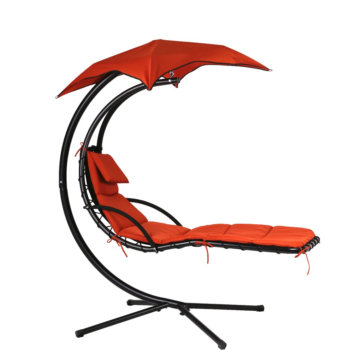 MR Direct New Hanging Chaise Lounger Chair Arc Stand Air Porch Swing Hammock Chair Canopy (Red)